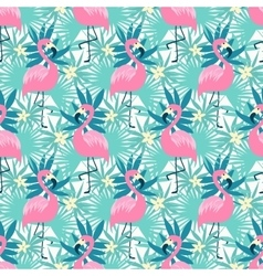 Tropical flamingo seamless vector