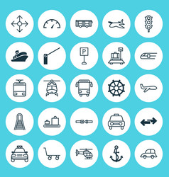 Vehicle icons set collection of roadsign baggage vector