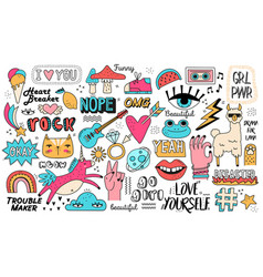 very large set doodle icons on assorted topics vector image