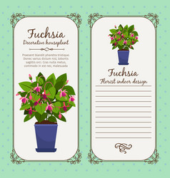 Vintage label with potted flower fuchsia vector