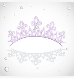 Violet shining tiara on a white backround vector