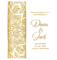 Wedding card template with ornamental decorative vector