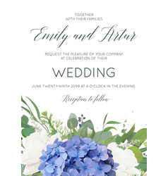 Wedding invite card design with hydrangea flowers vector