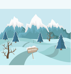 Winter mountain landscape background flat blue vector