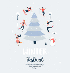 winter sport scene christmas event and festival vector image