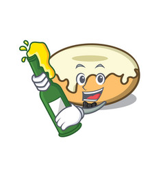 With beer donut with sugar mascot cartoon vector