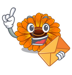 With envelope calendula flowers in a cartoon vector