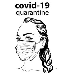 Woman in face mask virus covid19 epidemy vector