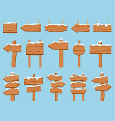 wooden signboards with snow wood banners hanging vector image
