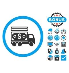Cash Lorry Flat Icon with Bonus vector image vector image
