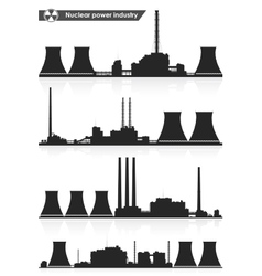 Nuclear power plants silhouettes vector image