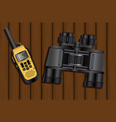 walkie-talkie and binoculars vector image