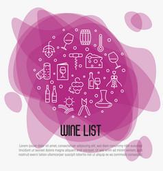 wine list concept for bar or restaurant menu vector image