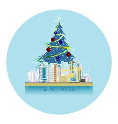 greeting card urban landscape with the christmas s vector image vector image