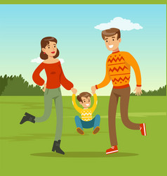 happy young father and mother spending time with vector image