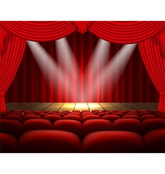 Theater stage with a red curtain and a spotlight vector image vector image