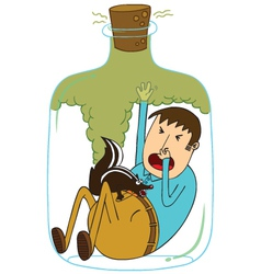 Trapped in a bottle with skunk vector image vector image
