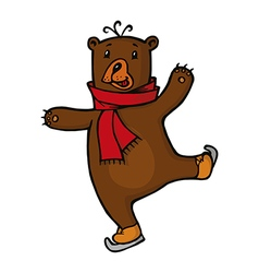 Bear in red scarf vector image vector image
