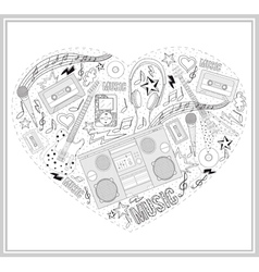 heart from hand drawn music elements vector image