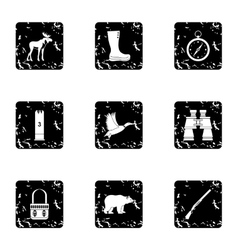 Hunting in forest icons set grunge style vector
