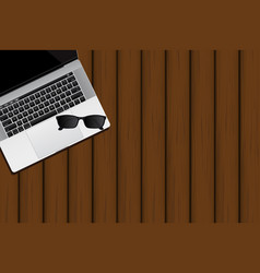 laptop and sunglasses vector image vector image