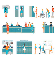 people in a bank interior vector image