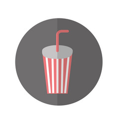 soda glass with straw icon vector image