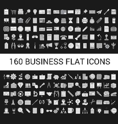 160 Business Flat Icons Collection vector image