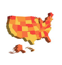 3d map of united states of america usa divided vector image