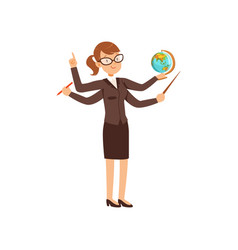 multitasking teacher with a pointer and globe vector image