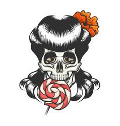 skull with lollipop vector image vector image