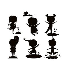 Summer kids black silhouette vector image
