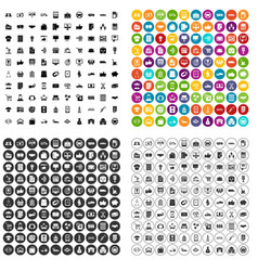 100 business icons set variant vector image