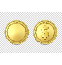 3d realistic golden metal coin icon set vector