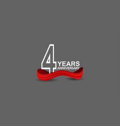 4 years anniversary line style white color vector
