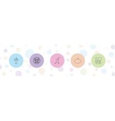 5 orange icons vector
