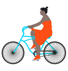 A spring walk woman cyclist vector