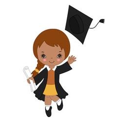 African American Little Girl Graduating vector image