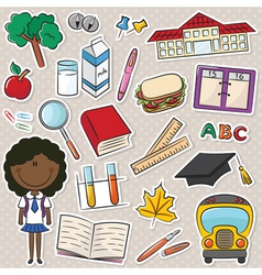 African-American school girls vector image