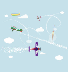 airshow flight of airplanes and airship in the vector image