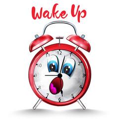 alarm clock back to school funny cartoon character vector image
