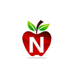 Apple letter n logo design template vector