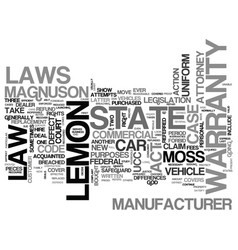 Auto lemon laws text word cloud concept vector