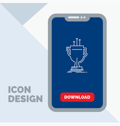 award competitive cup edge prize line icon in vector image