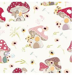Beautiful rustic floral seamless pattern mushrooms vector