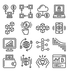 blockchain bitcoin cryptocurrency icons set vector image