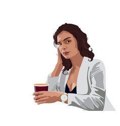 Brunette business woman in white jacket and blue vector