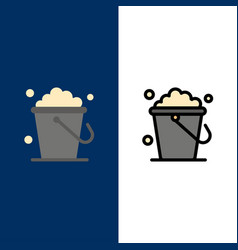 Bucket cleaning floor home icons flat and line vector