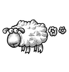 Cartoon image of farting sheep vector