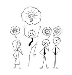 Cartoon of business team meeting and brainstorming vector